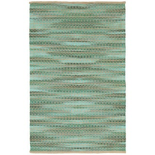 LNR Home Natural Fiber Green Abstract Area Rug (9'2 x 12'6)