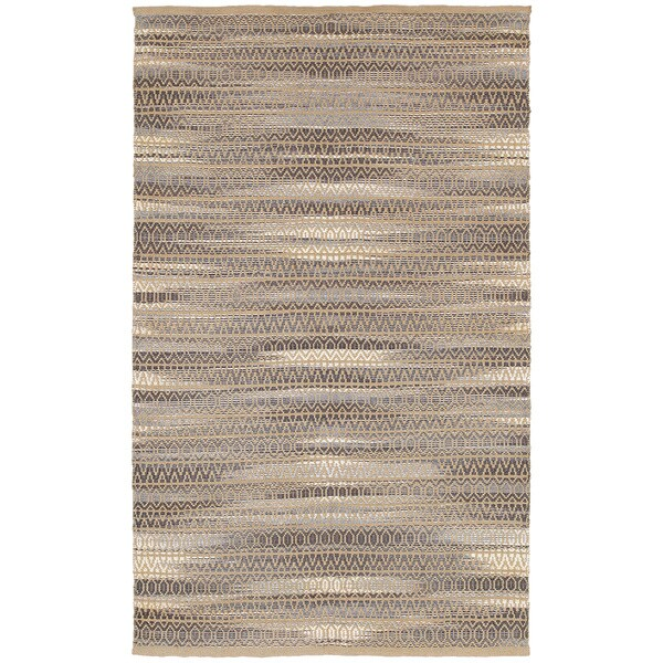 "LR Home Natural Fiber Grey Abstract Area Rug ( 5' x 7'9 ) - 5'2"" x 7'9"""