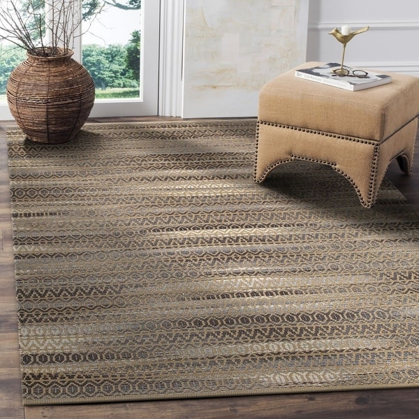 LR Home Hand Loomed Natural Fiber Striped Gray Jute/ Chenille Rug - 8' x 10'