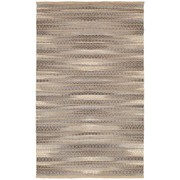 LR Home Natural Fiber Grey Abstract Area Rug ( 9' x 12' ) - 9'2 x 12'6