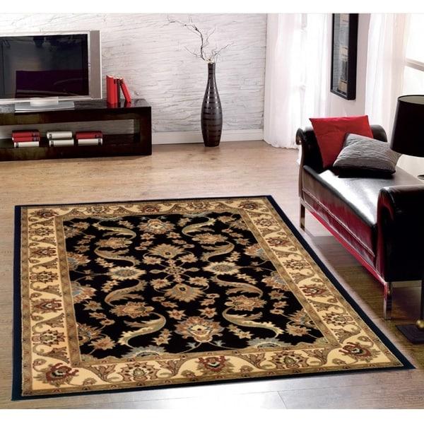LR Home Adana Black/ Cream Olefin Area Rug - 9'2 x 12'6