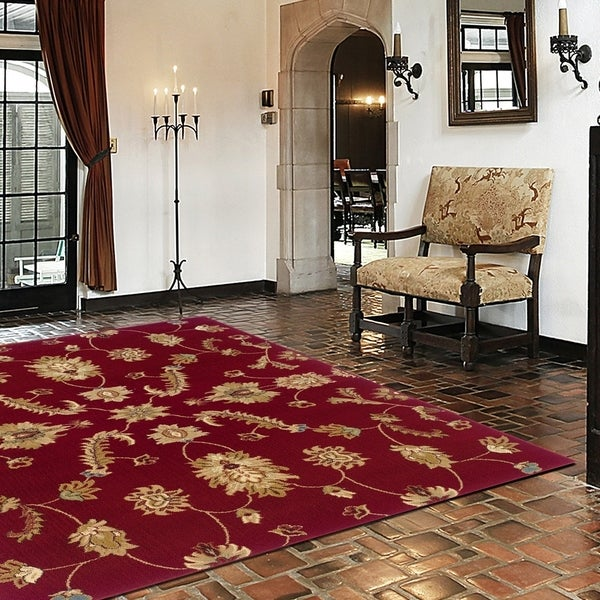 LR Home Adana Red Plush Indoor Rectangle Area Rug - 9'2 x 12'6