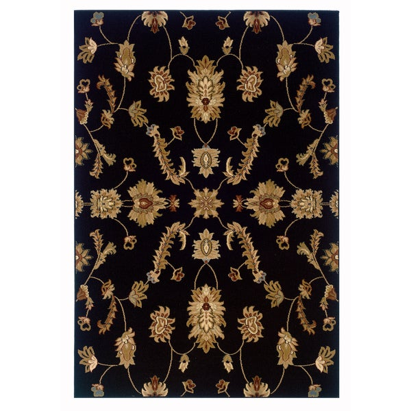 LR Home Adana Black Plush Indoor Rectangle Area Rug - 9'2 x 12'6