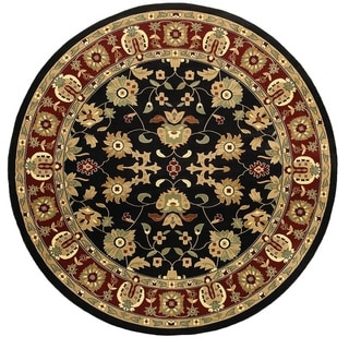 LNR Home Adana Black/ Red Floral Area Rug (9'1 Round)
