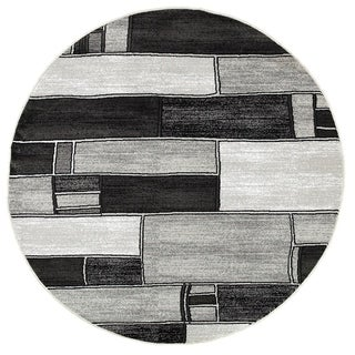 LNR Home Adana Charcoal/ Grey Geometric Rug (4' Round)
