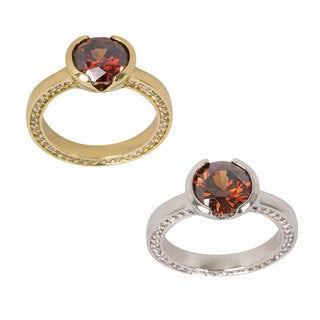 NEXTE Jewelry Gold or Rhodium Overlay Coffee Cubic Zirconia Solitaire Ring