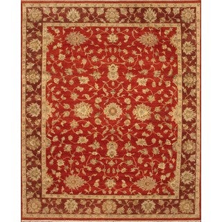 Hand Knotted Ziegler Rust Red Vegetable Dyes Wool Rug (8' x 10')