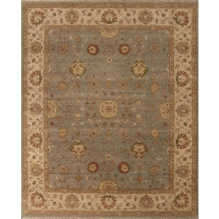 Hand Knotted Ziegler Blue Beige Vegetable Dyes Wool Rug (9' x 12')