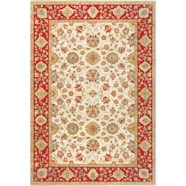 Hand Knotted Ziegler Beige Rust Vegetable Dyes Wool Rug (9' x 12')