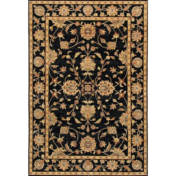 Hand-knotted Ziegler Black Vegetable Dyes Wool Rug (6' x 9')