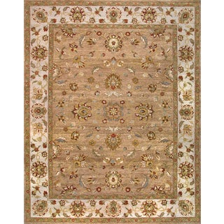 Hand-knotted Ziegler Camel Beige Vegetable Dyes Wool Rug (8' x 9)