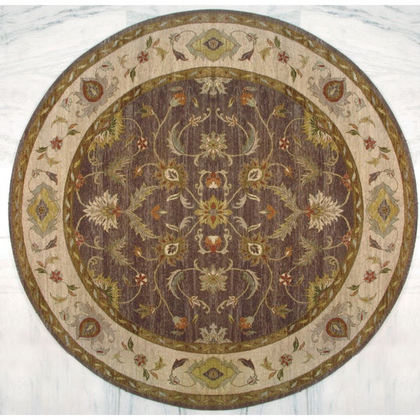 Hand Knotted Ziegler Brown Beige Vegetable Dyes Wool Rug