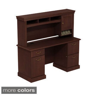 BBF Syndicate Double Pedestal Desk with Hutch Storage