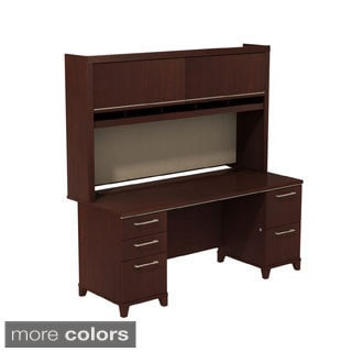 BBF Enterprise Double Pedestal Desk with Hutch