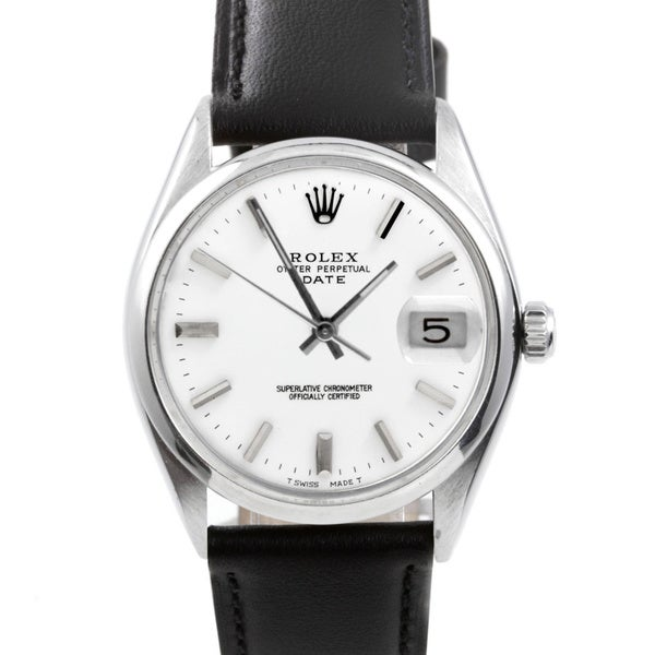 Overstrock Com: Shop Pre-owned Rolex Men's 1500 Date Watch White Dial And