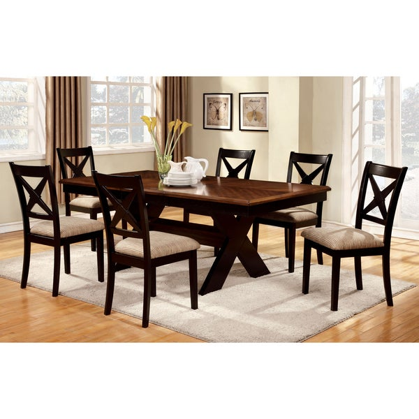 furniture of america berthetta 9-piece dining set with leaf - free