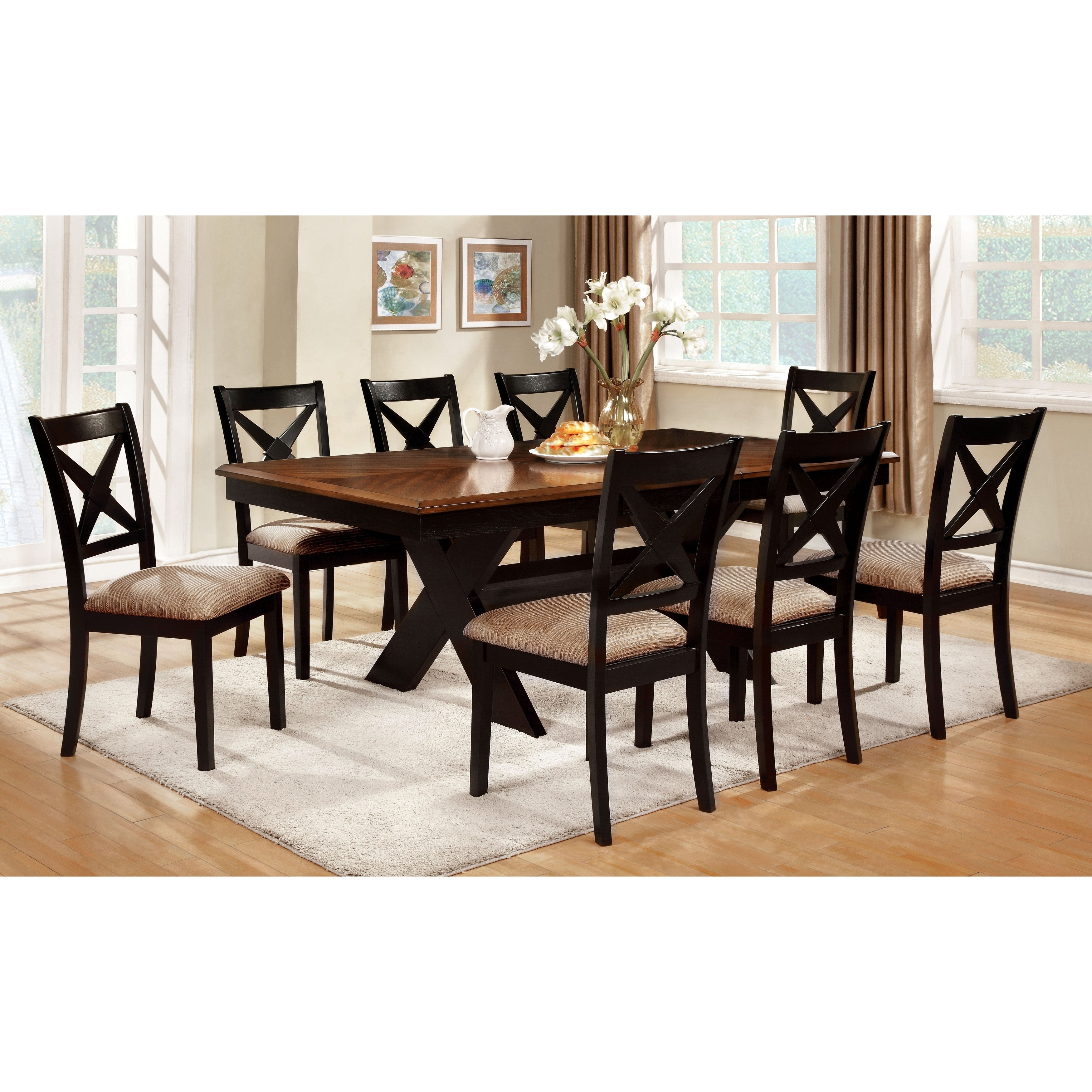 Furniture of America Berthetta 9-Piece Dining Set with Le...