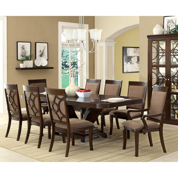 Furniture of America Cins Walnut 9-piece Dining Set with Leaf