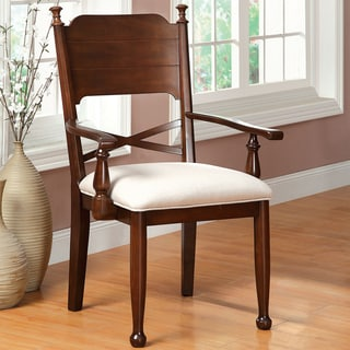 Furniture of America Descani Brown Cherry Arm Chair (Set of 2)