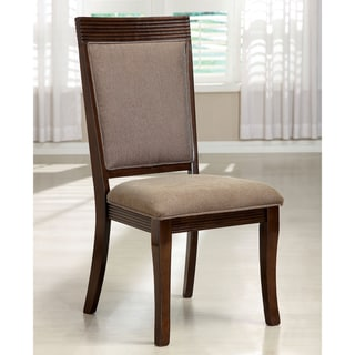 Furniture of America Cins Modern Walnut Fabric Dining Chairs Set of 2
