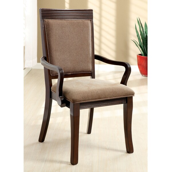 Furniture of America Cins Modern Walnut Fabric Armchairs Set of 2