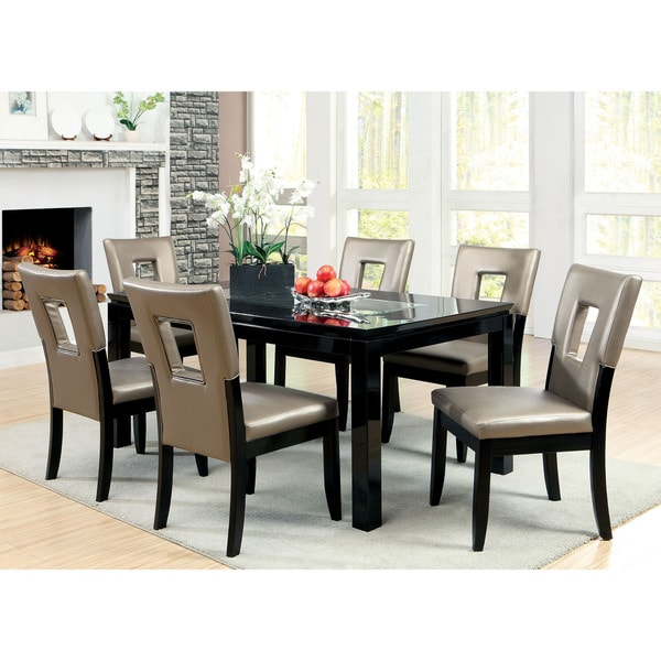 Furniture of America Evantel 7Piece Mirror Dining Table Set