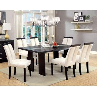 furniture of america lumina 7 piece light up two tone dining set