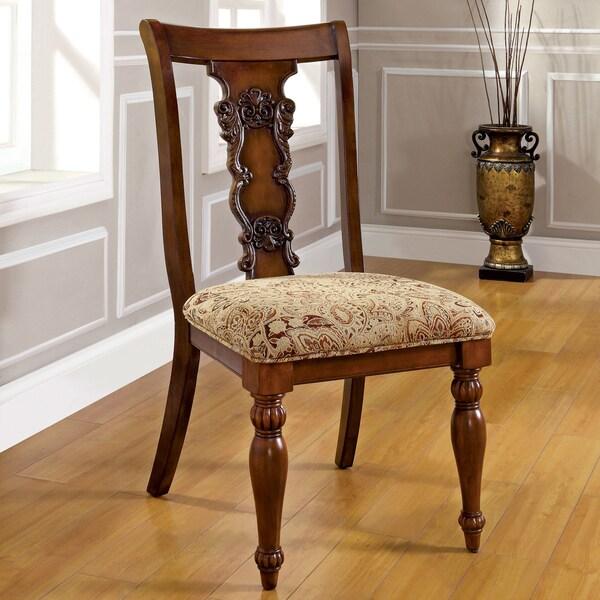 Shop Furniture Of America Ella Formal 7 Piece Dark Oak: Furniture Of America Ella Dark Oak Dining Chair (Set Of 2