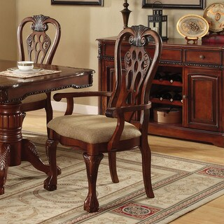 Furniture of America Harper Cherry Arm Chair (Set of 2)