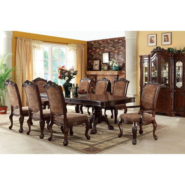 Furniture Of America Eiko 9 Piece Antique Cherry Dining Set With 15 Inch  Leaf