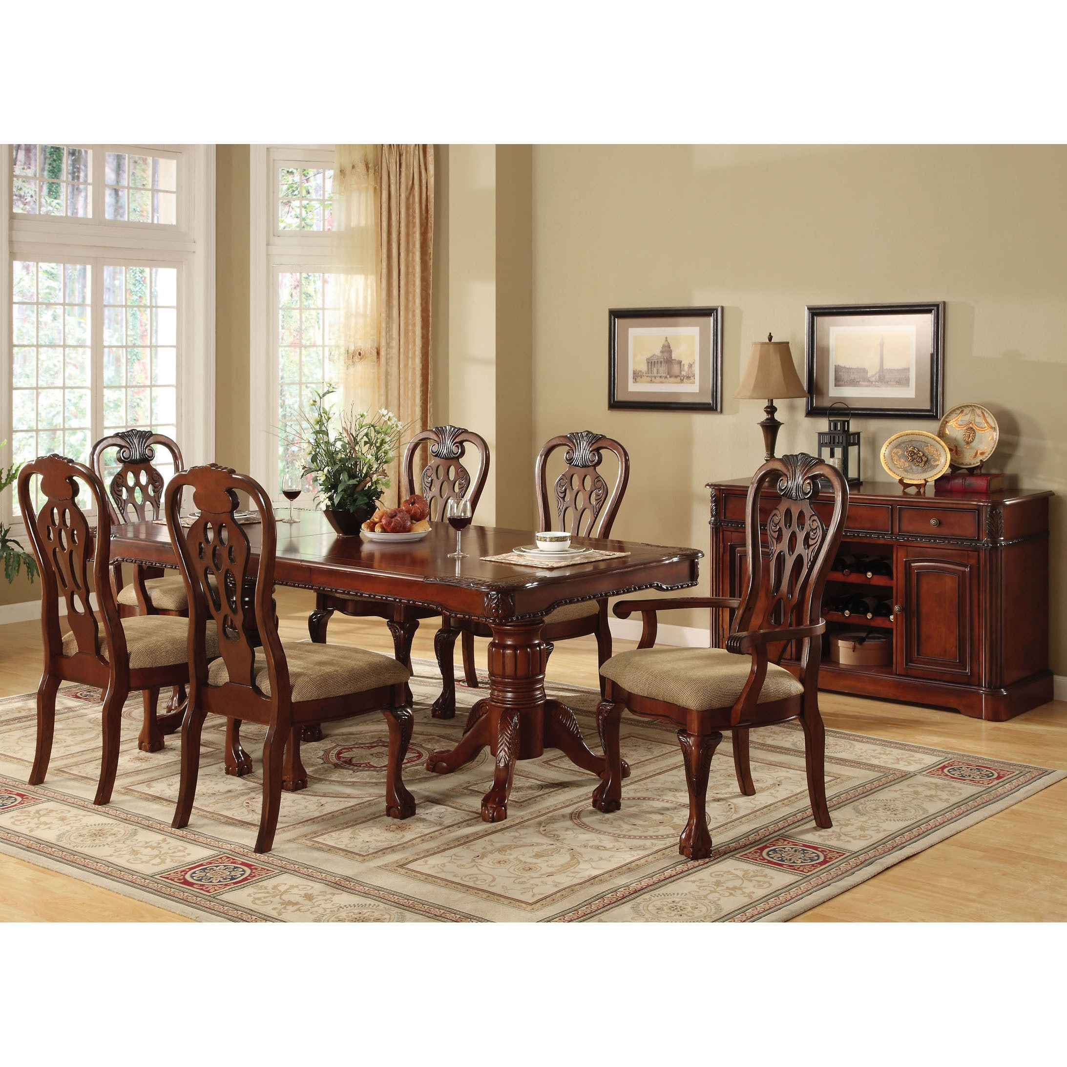 Furniture of America Harper 7-piece Formal Cherry Dining Set - Free ...