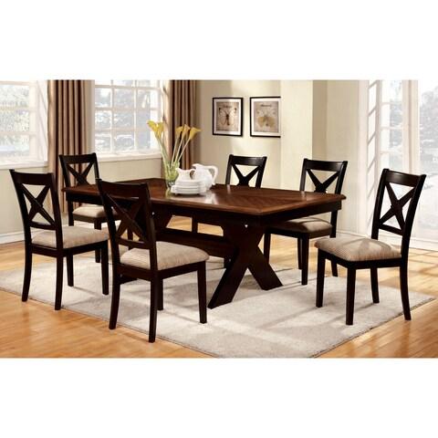 Furniture of America Berthetta 7-Piece Dining Set with Leaf