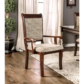 Furniture of America Ravena Antique Cherry Printed Arm Chair (Set of 2)