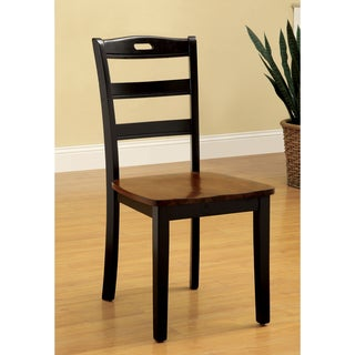 Furniture of America Zendell Black and Acacia Contoured Side Chair (Set of 2)