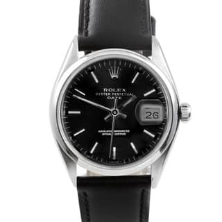 Pre-owned Rolex Men's 1500 Date Black Leather and Stainless Steel Watch|https://ak1.ostkcdn.com/images/products/9148626/Pre-owned-Rolex-Mens-1500-Date-Black-Leather-and-Stainless-Steel-Watch-P16328826.jpg?impolicy=medium