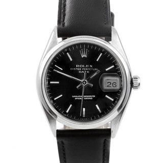 Pre-owned Rolex Men's 1500 Date Black Leather and Stainless Steel Watch