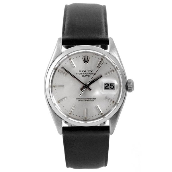 shop preowned rolex mens 1500 date watch dial and black