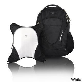 Obersee Oslo Diaper Bag Backpack with Detachable Cooler (Option: Black/White)