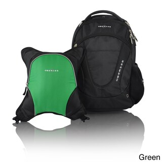 Obersee Oslo Diaper Bag Backpack with Detachable Cooler (Option: Black/Green)
