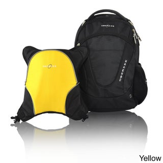 Obersee Oslo Diaper Bag Backpack with Detachable Cooler (Option: Black/Yellow)