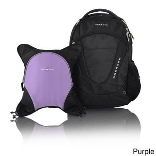 Obersee Oslo Diaper Bag Backpack with Detachable Cooler (Option: Black/Purple)