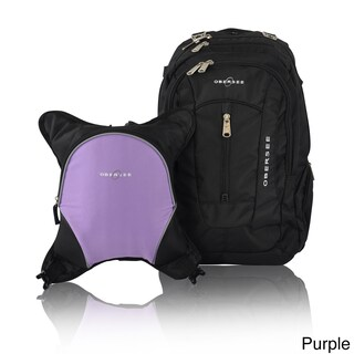 Obersee Bern Diaper Bag Backpack with Detachable Cooler (Option: Purple / Black)