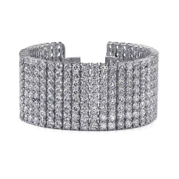 14k White Gold 36ct Tdw 8 Row Pave Diamond Bracelet