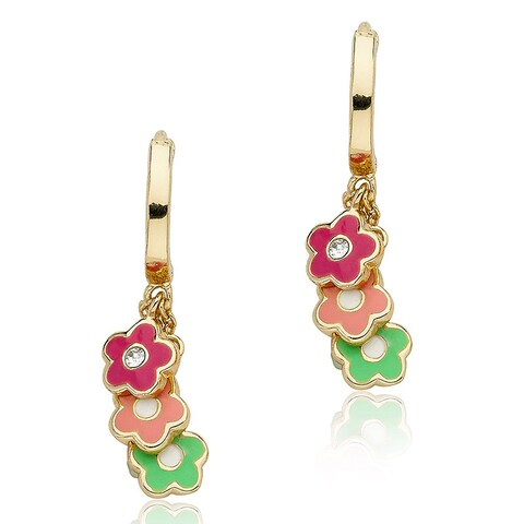 Little Miss Twin Stars Goldplated Frosted Multicolored Flower Hoop Dangle Earrings