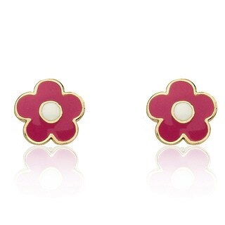 Little Miss Twin Stars 14k Goldplated Hot Pink Flower Stud Earrings