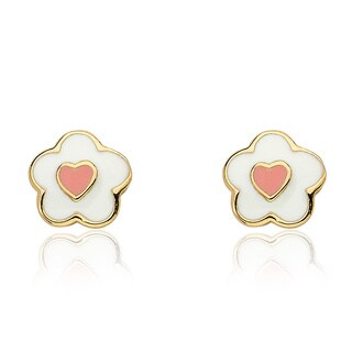 Little Miss Twin Stars 14k Goldplated White and Pink Flower Stud Earrings