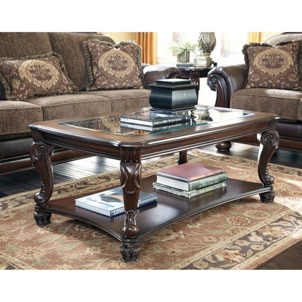Signature Designs By Ashley 39 Norcastle 39 Rectangular Dark Brown Cocktail Table Free Shipping