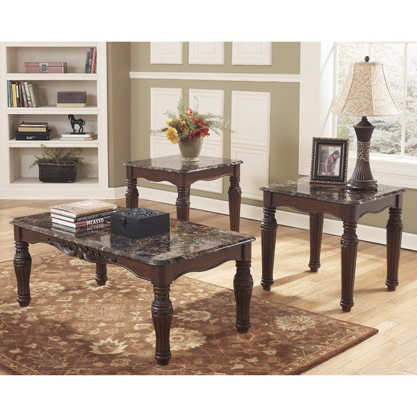 Shop Signature Designs By Ashley North Shore Dark Brown 3 Piece Occasional Table Set Free