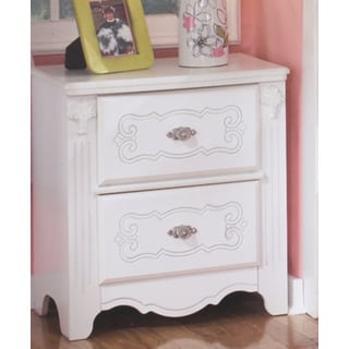 Signature Designs by Ashley Luminous White Exquisite 2-drawer Night Stand