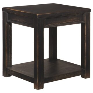 Signature Designs by Ashley Gavelston Black Wood Square End Table